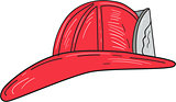Vintage Fireman Firefighter Helmet Drawing