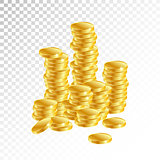 Gold coins. Columns of gold coins on a white background.