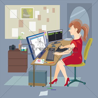 Freelance woman working at home with computer. Vector illustration in flat style