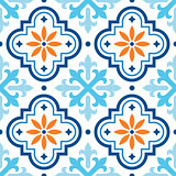 Spanish tile pattern, Moroccan tiles design, seamless blue and orange background