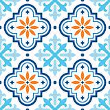 Spanish tile pattern, Moroccan tiles design, seamless blue and orange background
