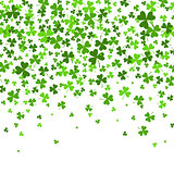 Saint Patrick s Day Border with Green Four and Tree Leaf Clovers on White Background. Vector illustration. Template. Lucky and success symbols