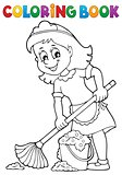 Coloring book cleaning lady 2