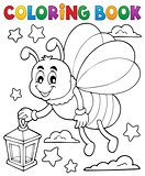 Coloring book firefly with lantern