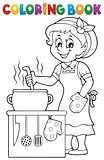 Coloring book happy female cook