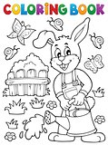 Coloring book rabbit gardener theme 2