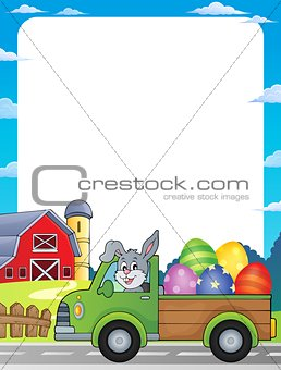 Frame with Easter eggs in truck