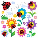 Ladybugs and flowers thematic set