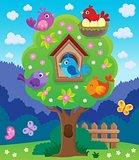 Tree with stylized birds theme image 4