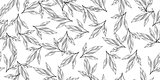 Black and white seamless leaves
