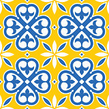 Spanish tiles pattern, Moroccan and Portuguese tile seamless design in navy blue and yellow  - Azulejo