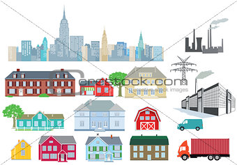 Houses and industry isolated on white