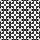 Spanish tiles pattern, Moroccan and Portuguese tile seamless design in black and white - Azulejo