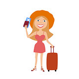 woman with suitcase and ticket