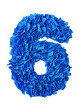 Six. Handmade number 6 from blue scraps of paper