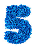 Five. Handmade number 5 from blue scraps of paper