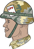African American US Army Soldier Helmet Playing Card Drawng