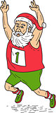 Santa Claus Father Christmas Running Marathon Cartoon