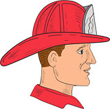 Fireman Firefighter Vintage Helmet Drawing