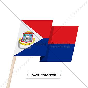 Sint Maarten Sharp Ribbon Waving Flag Isolated on White. Vector Illustration.