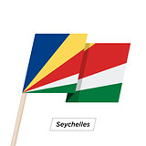 Seychelles Ribbon Waving Flag Isolated on White. Vector Illustration.