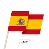 Spain Ribbon Waving Flag Isolated on White. Vector Illustration.