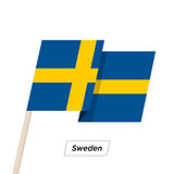 Sweden Ribbon Waving Flag Isolated on White. Vector Illustration.