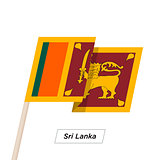 Sri Lanka Ribbon Waving Flag Isolated on White. Vector Illustration.