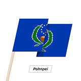 Pohnpei Ribbon Waving Flag Isolated on White. Vector Illustration.