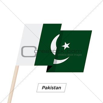 Pakistan Ribbon Waving Flag Isolated on White. Vector Illustration.