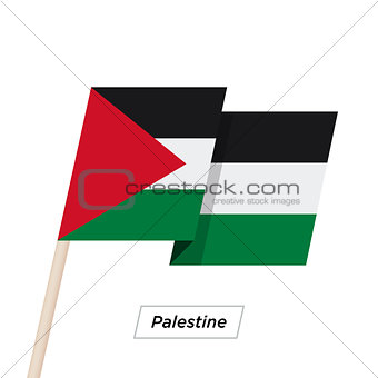 Palestine Ribbon Waving Flag Isolated on White. Vector Illustration.