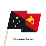 Papua New Guinea Ribbon Waving Flag Isolated on White. Vector Illustration.