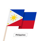 Philippines Ribbon Waving Flag Isolated on White. Vector Illustration.