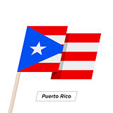 Puerto Rico Ribbon Waving Flag Isolated on White. Vector Illustration.