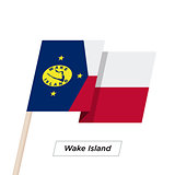 Wake Island Ribbon Waving Flag Isolated on White. Vector Illustration.