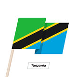Tanzania Ribbon Waving Flag Isolated on White. Vector Illustration.