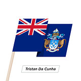 Tristan Da Cunha Ribbon Waving Flag Isolated on White. Vector Illustration.