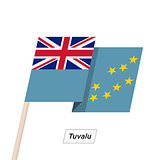 Tuvalu Ribbon Waving Flag Isolated on White. Vector Illustration.