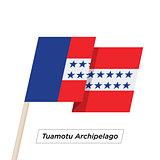 Tuamotu Archipelago Ribbon Waving Flag Isolated on White. Vector Illustration.