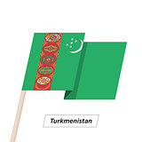 Turkmenistan Ribbon Waving Flag Isolated on White. Vector Illustration.