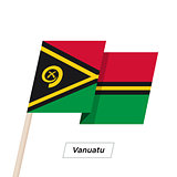 Vanuatu Ribbon Waving Flag Isolated on White. Vector Illustration.