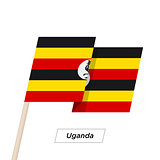 Uganda Ribbon Waving Flag Isolated on White. Vector Illustration.