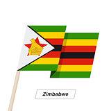 Zimbabwe Ribbon Waving Flag Isolated on White. Vector Illustration.