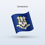 State of Connecticut flag waving form. Vector illustration.