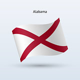 State of Alabama flag waving form. Vector illustration.