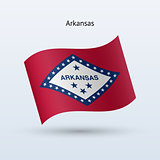 State of Arkansas flag waving form. Vector illustration.