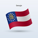 State of Georgia flag waving form. Vector illustration.