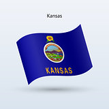 State of Kansas flag waving form. Vector illustration.
