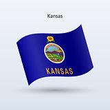 State of Kansas flag waving form. Vector illustration.