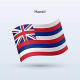 Hawaii flag waving form. Vector illustration.